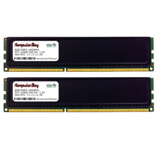 Image for Komputerbay 16GB (2x 8GB) DDR3 PC3-12800 1600MHz DIMM with Black Heatspreaders 240-Pin RAM Desktop Memory 11-11-11-28 XMP ready