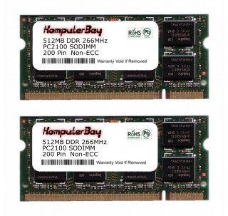 Image for Komputerbay 1GB (512MBx2) DDR SODIMM (200 pin) 266Mhz DDR266 PC2100 FOR Compaq  Presario R3306EA 1 GB (512MBx2)