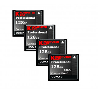 KOMPUTERBAY 4-PACK 128GB Professional Compact Flash card 1066X CF write 155MB/s read 160MB/s Extreme Speed UDMA 7 RAW