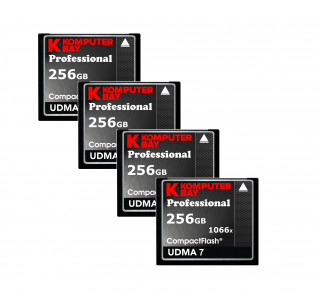 KOMPUTERBAY 4-PACK 256GB Professional Compact Flash card 1066X CF write 155MB/s read 160MB/s Extreme Speed UDMA 7 RAW