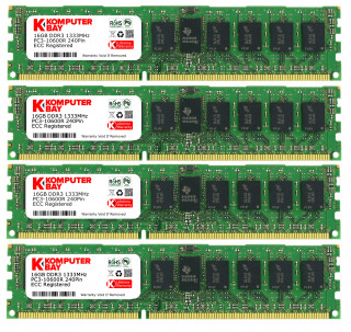 Komputerbay 64GB 4x16GB 1333MHz DDR3 PC3-10666 ECC Registered CL9 DIMM DR x4 Server Memory 64 GB