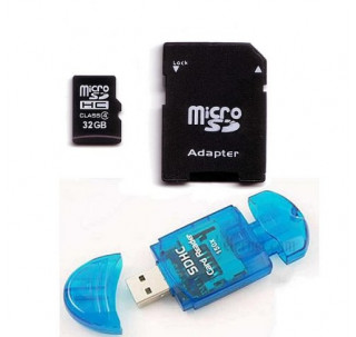 Image for Komputerbay 32GB MicroSD SDHC Microsdhc Class 4 with Micro SD Adapter and Blue USB SD Reader