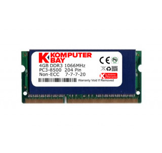 Komputerbay 4GB DDR3 SODIMM (204 pin) 1066Mhz PC3 8500 4 GB with SODIMM Heatsink for extra cooling (7-7-7-20)