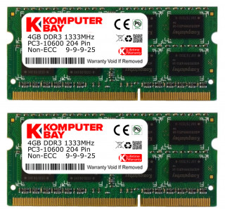 Komputerbay 8GB (2X4GB) DDR3 SODIMM (204 pin) 1333Mhz PC3 10600 8 GB - CL 9 (not for Macs)
