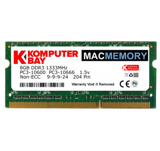 Komputerbay MACMEMORY 8GB PC3-10600 10666 1333MHz SODIMM 204-Pin Laptop Memory 9-9-9-24 Single 8GB Stick for Apple Mac