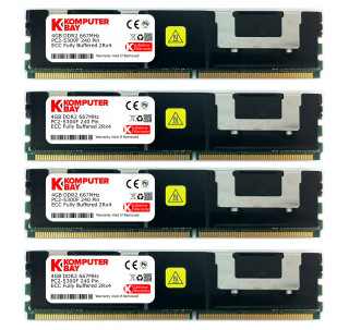 KOMPUTERBAY 16GB (4X4GB) Certified Memory for ASUS SERVER RS162-E4/RX4 DDR2 667MHz ECC Registered FBDIMM