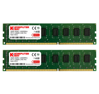 Komputerbay 8GB (2x 4GB) DDR3/DDR3L PC3-12800 1600MHz DIMM (240-Pin) Desktop Memory CL 11 - XMP Ready