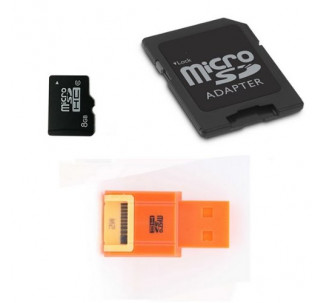 Komputerbay 8GB microSDHC Class 6 with Micro SD Adapter and Orange USB Reader