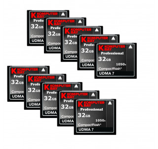 KOMPUTERBAY 10-PACK 32GB Professional COMPACT FLASH CARD CF 1050X WRITE 100MB/S READ 160MB/S Extreme Speed UDMA 7 RAW 32 GB