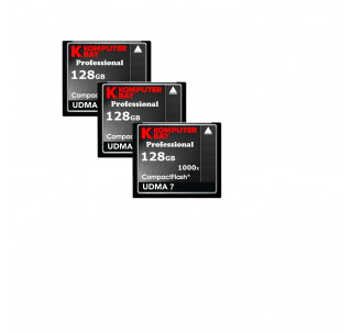 KOMPUTERBAY 3-PACK - 128GB Professional COMPACT FLASH CARD CF 1000X 150MB/s Extreme Speed UDMA 7 RAW 128 GB