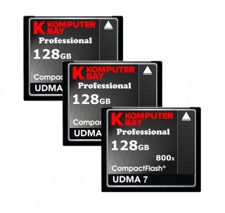 KOMPUTERBAY 3-PACK - 128GB Professional COMPACT FLASH CARD CF 800X 120MB/s Extreme Speed UDMA 7 RAW 128 GB