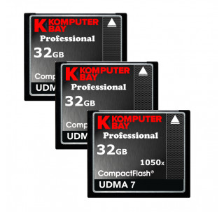 KOMPUTERBAY 3-PACK 32GB Professional COMPACT FLASH CARD CF 1050X WRITE 100MB/S READ 160MB/S Extreme Speed UDMA 7 RAW 32 GB