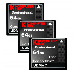 KOMPUTERBAY 3-PACK - 64GB Professional COMPACT FLASH CARD CF 1000X 155MB/s Extreme Speed UDMA 7 RAW 64 GB