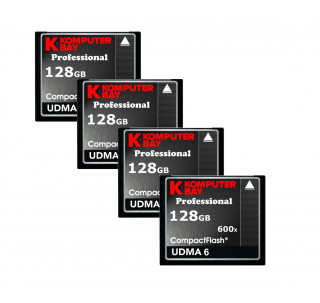 KOMPUTERBAY 4-PACK - 128GB Professional Compact Flash Card CF 600X 90MB/s Extreme Speed UDMA 6 RAW 128 GB
