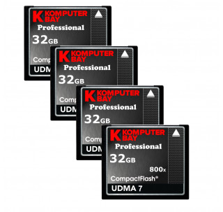 KOMPUTERBAY 4-PACK - 32GB Professional COMPACT FLASH CARD CF 800X 120MB/s Extreme Speed UDMA 7 RAW 32 GB