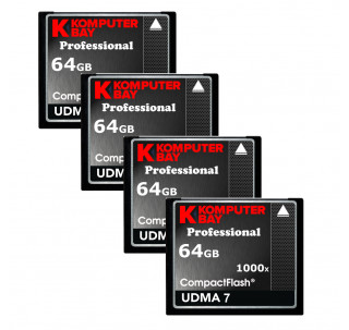 KOMPUTERBAY 4-PACK - 64GB Professional COMPACT FLASH CARD CF 1000X 155MB/s Extreme Speed UDMA 7 RAW 64 GB
