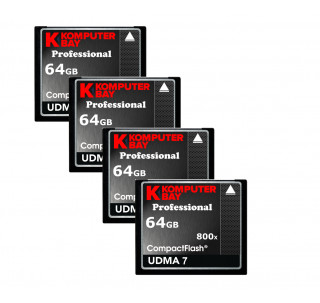 KOMPUTERBAY 4-PACK - 64GB Professional COMPACT FLASH CARD CF 800X 120MB/s Extreme Speed UDMA 7 RAW 64 GB