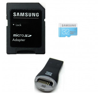 Samsung MicroSDHC 32GB Class 6 Memory Card High Speed Ultra 40MB/s Read 15MB/s write with Komputerbay SD adapter and Mobilemate USB Reader