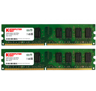 Komputerbay 4GB ( 2 x 2GB ) DDR2 DIMM (240 PIN) AM2 667Mhz PC2 5400 / PC2 5300 FOR Asus M3N-HT Deluxe/HDMI 4 GB