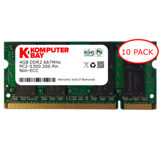 Komputerbay 10-PACK - 4GB DDR2 PC-5300/PC-5400 667MHz 200 Pin SODIMM Laptop Memory