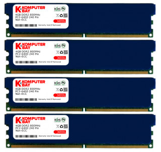 KOMPUTERBAY 16GB ( 4 X 4GB ) DDR2 DIMM (240 PIN) 800Mhz PC2 6400 PC2 6300 with Heatspreaders 16 GB - CL 5