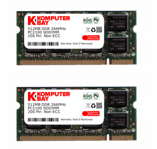 "Komputerbay 1GB (512MBx2) DDR SODIMM (200 pin) 266Mhz DDR266 PC2100 FOR Apple Mac Memory iBook G4 1.42GHz 14\ Super Drive (M9848LL/A) 172"" 1 GB (512MBx2)"