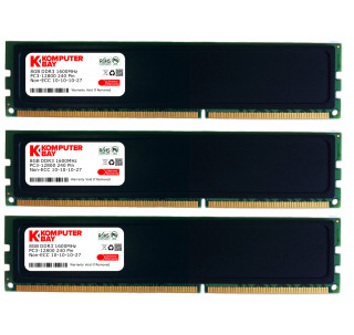 Komputerbay 24GB (3x 8GB) 240 Pin 1600MHz PC3-12800 DDR3 DIMM with Low Profile Heatspreaders - Black