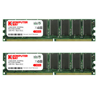 KOMPUTERBAY 2GB (2 x 1GB ) DDR DIMM (184 PIN) 333Mhz PC2700 CL 2.5 HIGH DENSITY DESKTOP MEMORY - Not for Intel based motherboards like Dell, Sony, etc