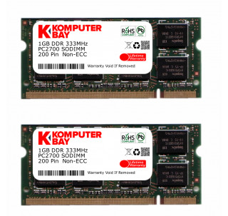 KOMPUTERBAY 2GB (2x1GB) DDR SODIMM (200 pin) 333Mhz DDR333 PC2700 LAPTOP MEMORY