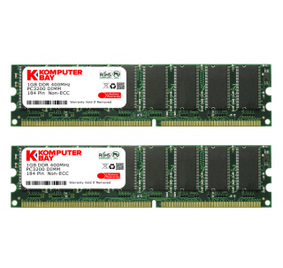 Komputerbay 2GB (2x 1GB) DDR DIMM (184 Pin) 400MHz PC3200 RAM FOR GIGABYTE 184Pin MOTHERBOARDS 2 GB