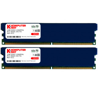 Komputerbay 2GB 2x 1GB DDR2 PC2 8500 1066Mhz 240 Pin DIMM 2 GB KIT - comes with Heat Spreader for extra Cooling