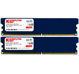 Komputerbay 4GB (2x 2GB) DDR2 800MHz PC2-6300 6400 RAM (240 Pin) DIMM 5-5-5-18 Desktop Memory with Heatspreaders
