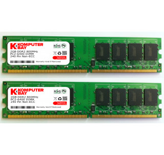 Komputerbay 4GB ( 2 x 2GB ) DDR2 DIMM (240 PIN) AM2 800Mhz PC2 6400 / PC2 6300 FOR ASRock A780FullDisplayPort 4 GB