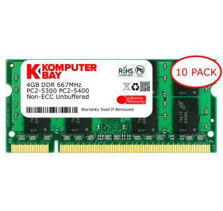 Komputerbay 10-PACK - 4GB DDR2 PC-5300/PC-5400 667MHz 200 Pin SODIMM Laptop Memory made with Micron semiconductors