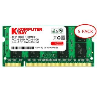 Komputerbay 5-PACK - 4GB DDR2 PC-6300/PC-6400 800MHz 200 Pin SODIMM Laptop Memory made with Micron semiconductors