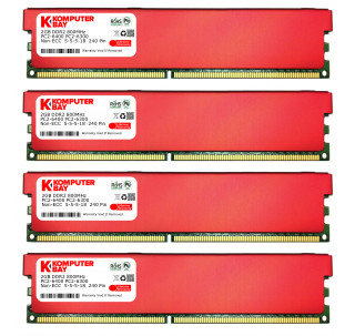 Komputerbay 8GB (4 X 2GB) DDR2 DIMM (240 pin) 800MHZ PC2-6400 PC2-6300 Desktop RAM with Red Heatspreaderss for extra Cooling CL 5-5-5-18