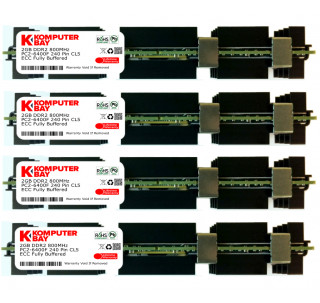 KOMPUTERBAY 8GB (4X2GB) Certified 800MHz ECC Registered FBDIMM Memory for Apple 2008 Xserve 2.8GHz, 3.05GHz MB093G/A