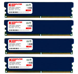 Komputerbay 8GB (4X 2GB) DDR2 PC2-8500 1066MHZ DIMM 8 GB - comes with Heat Spreaders ( 5-7-7-25 at 1.8V)