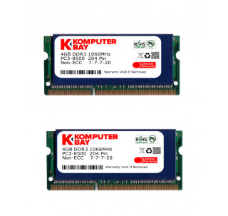 Komputerbay 8GB (2x 4GB) DDR3 SODIMM (204 pin) made with Hynix semiconductors 1066Mhz PC3 8500 8 GB with SODIMM Heatsink for extra cooling