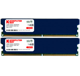 KOMPUTERBAY 8GB ( 2 X 4GB ) DDR2 DIMM (240 PIN) 800Mhz PC2 6400 PC2 6300 with Heatspreaders 8 GB - CL 5