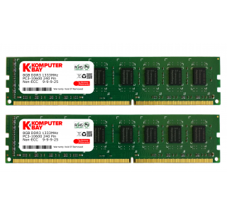 Komputerbay 16GB (2x 8GB) DDR3 PC3-12800 1600MHz DIMM 240-Pin RAM Desktop Memory 9-9-9-24 Cas Latency 9 XMP ready