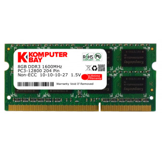 Komputerbay 8GB DDR3 PC3-12800 1600MHz SODIMM 204-Pin Laptop Memory 10-10-10-27