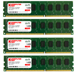 Komputerbay 16GB (4 X 4GB) DDR3 DIMM (240 Pin) 1333Mhz PC3 10600 / PC3 10666 (9-9-9-25) Non Ecc Unbuffered Desktop Memory Kit