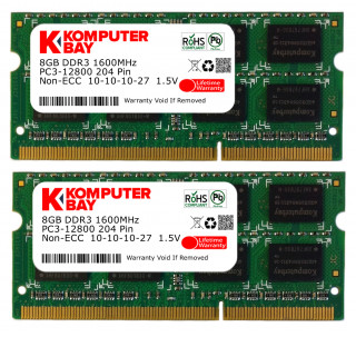Komputerbay 16GB (2x 8GB) PC3-12800 1600MHz SODIMM 204-Pin Laptop Memory 10-10-10-27 for PC only - not MAC