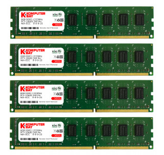 Komputerbay 32GB (4x 8GB) PC3-10600 10666 1333MHz DDR3 1333 DRAM DIMM 240-Pin RAM Desktop Memory Dual Channel KIT 9-9-9-25