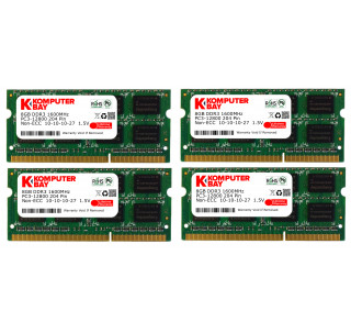 Komputerbay 32GB (4x 8GB) DDR3 PC3-12800 1600MHz SODIMM 204-Pin Laptop Memory 10-10-10-27