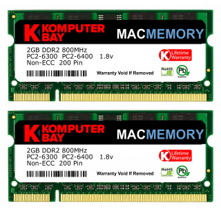 Komputerbay MACMEMORY Apple 4GB Kit (2x 2GB Modules) PC2-6300 800MHz DDR2 SODIMM iMac and Macbook Memory