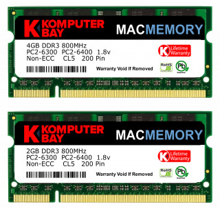"Komputerbay MACMEMORY 6GB Kit (4GB + 2GB Modules) PC2-6300 800MHz DDR2 SODIMM for Apple iMac 20"" 2008 2.4GHz 2.66GHz"