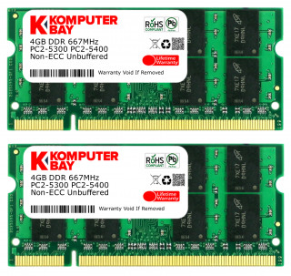 Komputerbay 8GB 2x 4GB DDR2 PC-5300/PC-5400 667MHz 200 Pin SODIMM Laptop Memory made with Micron semiconductors