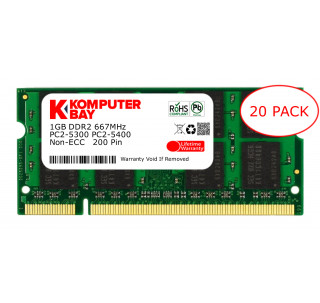 Komputerbay 20-PACK - 1GB DDR2 PC-5300/PC-5400 667MHz 200 Pin SODIMM Laptop Memory with Samsung semiconductors